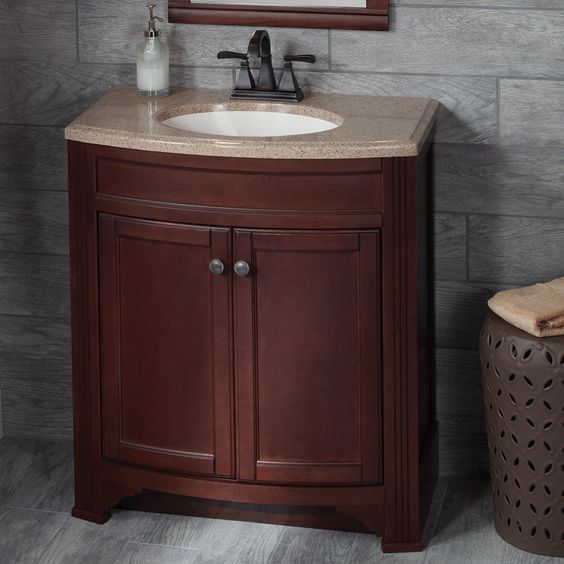 Shop Style Selections Delyse Java Integral Single Sink Bathroom Vanity with  Solid Surface Top (Common