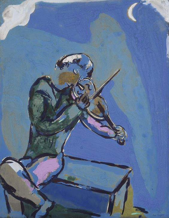 Marc Chagall, Le violoniste bleu, gouache sur papier