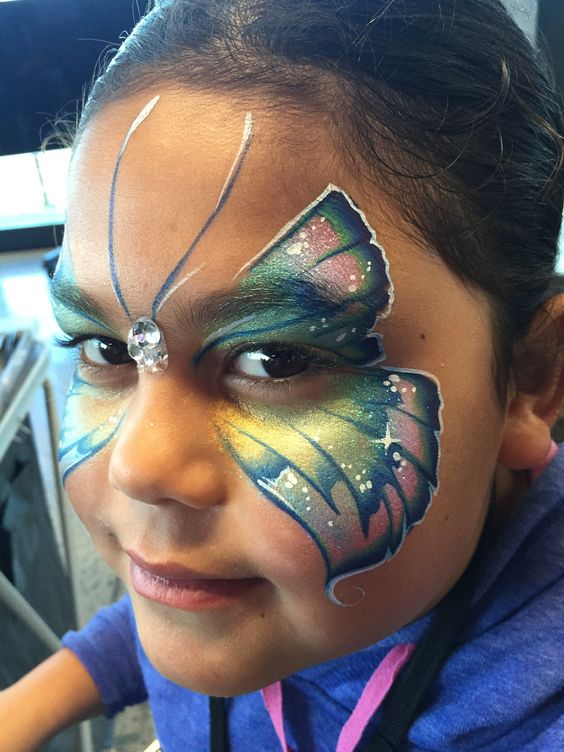 Butterfly facepaint with bling