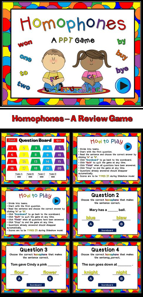Reviewing Homophones A Powerpoint Game Other, Review