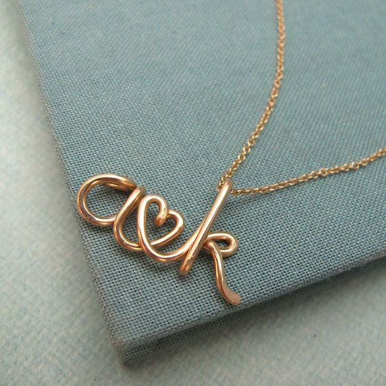 Two Lovers14K Personalized Initials Necklace by Laladesignstudio