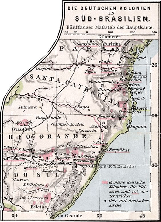 Areas of higher German colonization in Southern Brazil 1905 – Southern Germany Map