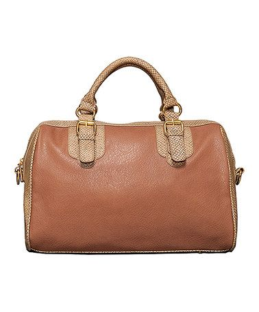 Another great find on #zulily! Brown & Tan Contrast Satchel by Elise Hope #zulilyfinds