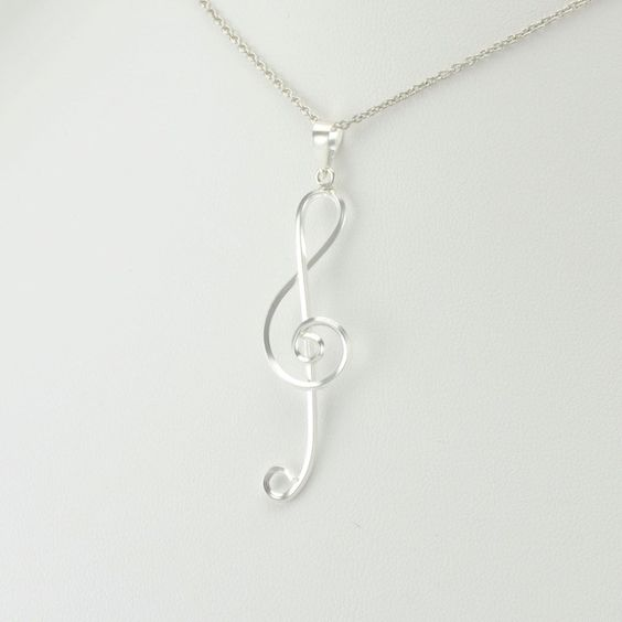 "[5691] sterling silver treble clef pendant on 18"" cable chain"