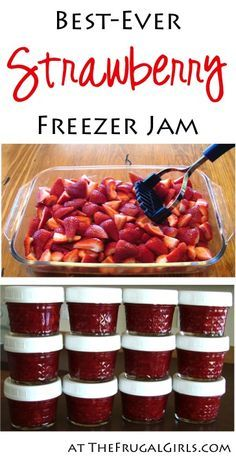 Easy Freezer Jam Recipe! ~ from TheFrugalGirls.com ~ stock your freezer with the Best Strawberry Jam and give some as fun Gifts in a Jar! #jelly #recipes #thefrugalgirls