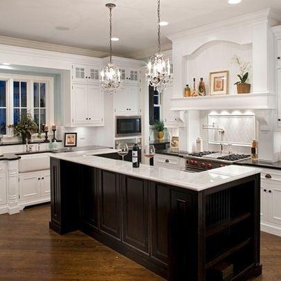 Kitchen photos white upper cabinets black lower cabinets for Black lower kitchen cabinets