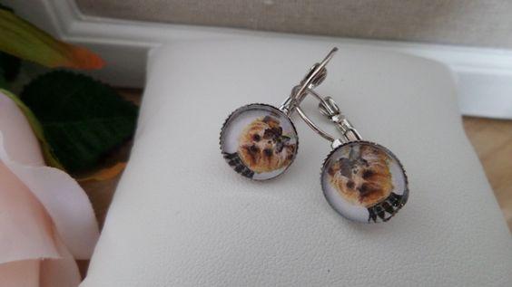 boucles d'oreilles dormeuses cabochon yorkshire steampunk-diamètre 12mm-cadeau pour elle-métal sans nickel de la boutique Domidora sur Etsy