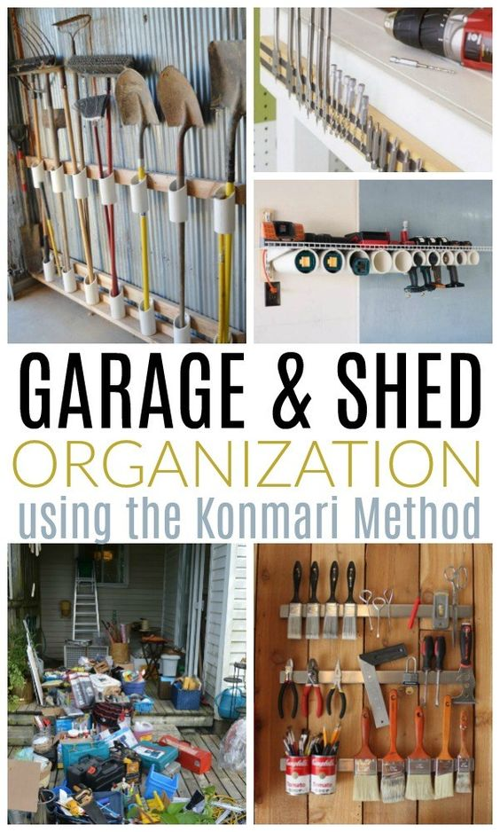 Inside: Tackle the most disorganized area in your home or property! Garage and shed organization ideas, plus how to use the super popular Konmari Method to keep the clutter at bay for good.