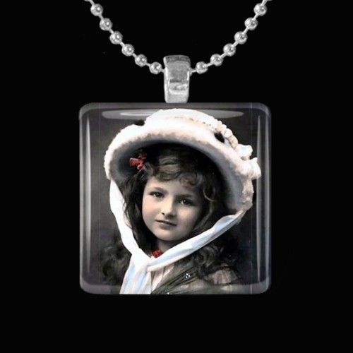 Leave Comment and Save up to 15% Vintage 1911 Bonnet Girl Glass Tile Pendant with Necklace choice or Keychain $8.95 www.artfire.com/...
