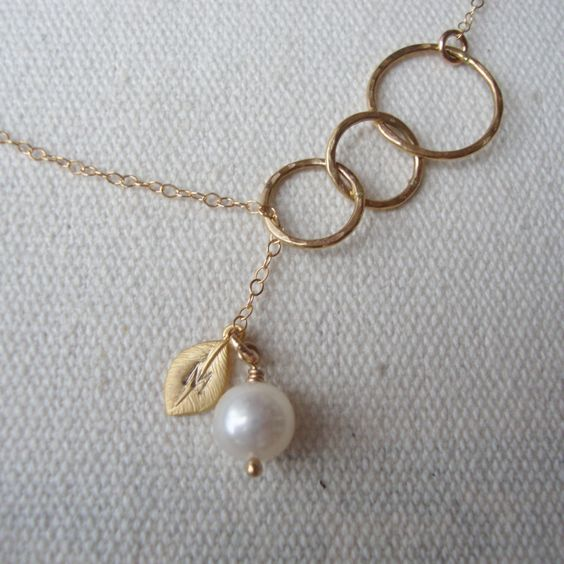 Personalized Lariat-Gold Filled-Engraved Tiny Leaf-Bridal-Bridesmaids Gifts-Maid of Honor-Customized Gift-Bridal Party-Everyday Jewelry. $34.00, via Etsy.