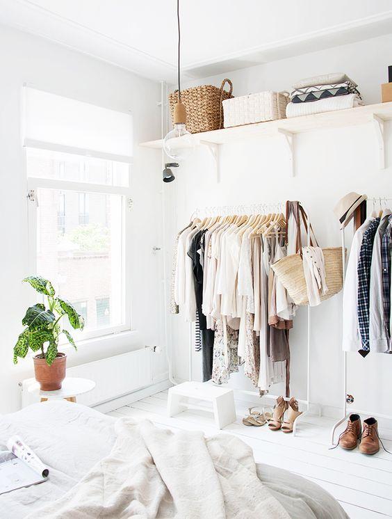 Makeshift closet ideas // All white room