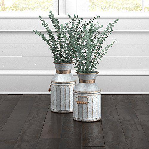 Stone Beam Galvanized Metal Milk Jug Planter Vase Lowcountry High Style Farmhouse Vases Metal Milk Jug Jug Decor