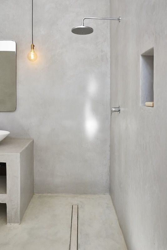 Cement Plaster Shower Walls Google Search Bathroom Concrete Floor Concrete Bathroom Concrete Shower
