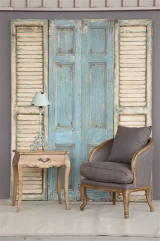 rustic french doors - seeing Louis Blue, with a bit of dark wax glaze, with off white and louis blue hints on shutters...distressed...perhaps a bit of Coco wash!  Love this...am looking for just the spot for this now!  I