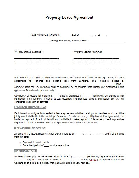 printable sample rental lease agreement template form