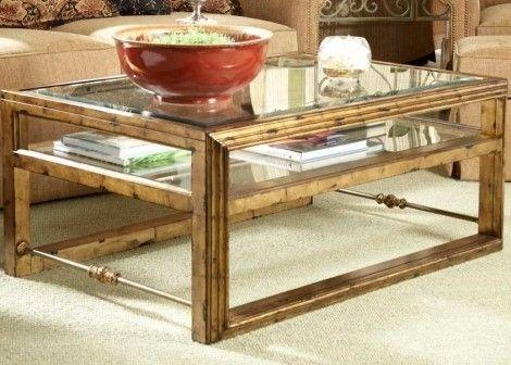 Fine Furniture Design Gold Leaf Rectangular Cocktail Table