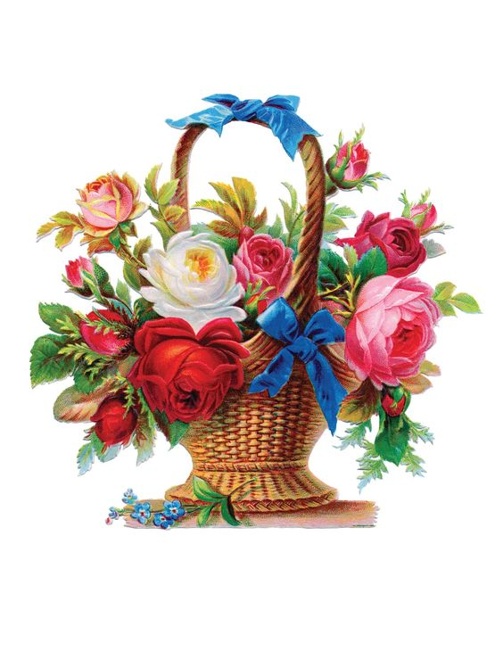 vintage flower basket: Flower Art, Flower Baskets, Roses, Flowers Game, B Rose Basket, Vintage Flowers