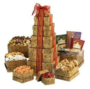 Broadway Basketeers Ultimate Gourmet Gift Tower #xmass #xmas #easter Great gourmet gift basket for Valentine's Day, birthday, thank you, or any occasion  Perfect gift basket for family and friends, or as a corporate office gift  Gift Tower Contains: chocolate covered cherries, butter toffee peanuts, chocolate chip cookies, yogurt pretzels, cranberry fruit mix, drizzled caramel popcorn, chocolate covered peanuts hot cocoas and coffee alongside a duo of chocolate dipped biscotti's