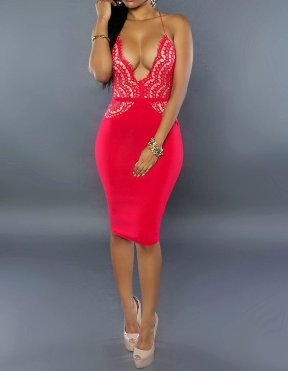 Red Crochet Lace Plunge Sheer Back Close Fitting Midi Party Dress