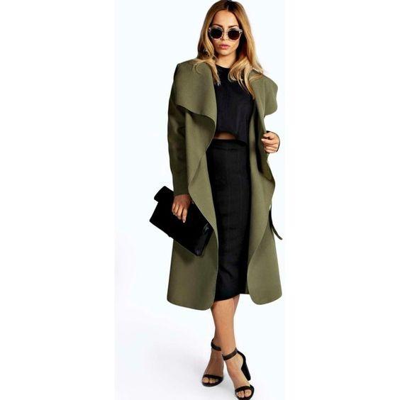Boohoo Kate Belted Shawl Collar Coat ($35) ❤ liked on Polyvore featuring outerwear, coats, khaki, draped trench coat, black wrap coat, waterfall coat, shawl collar coat and black shawl