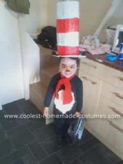 Homemade Cat in the Hat Kids Costume I made this costume for my 4 year  sc 1 st  Pinterest & Coolest Homemade Cat in the Hat Kids Costume | Katter Hemmagjord ...