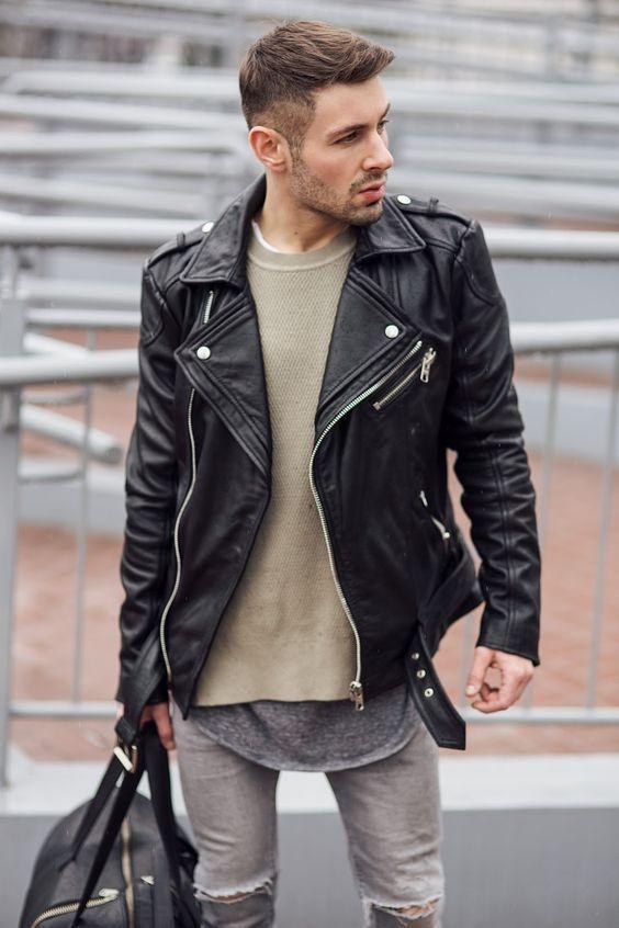 Men/'s Vintage Desert Biker Leather Jacket