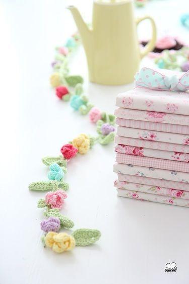 Crochet floral line