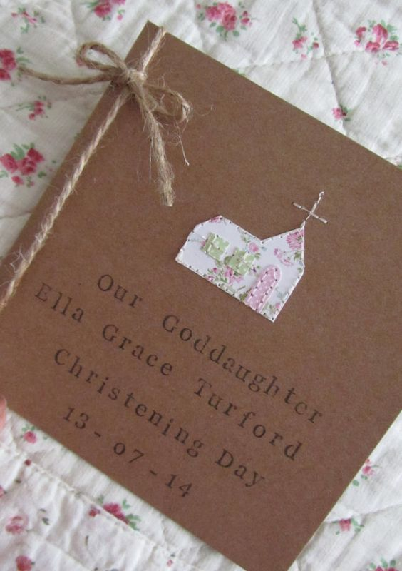 Personalised Christening Card, Rustic Christening Card.: