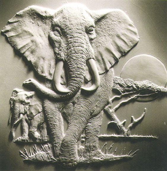 Bas relief sculpture elephant click on any