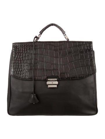 Dolce & Gabbana Leather Crocodile-Trimmed Briefcase
