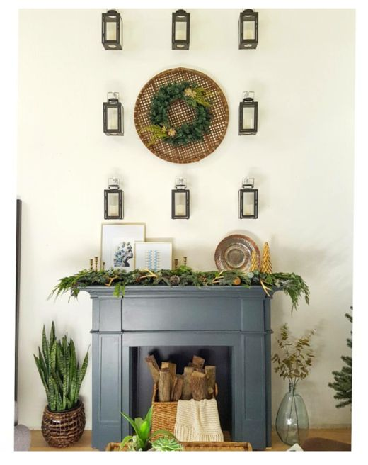 Erin of Kismet House uses natural materials for a rustic holiday take. We love the lantern accent wall - so creative!