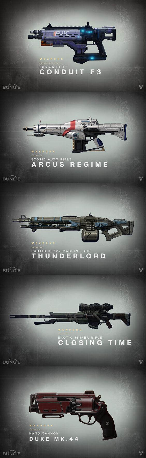 The weapons from destiny only slightly resemble familiar guns, but they combine so many different colours and new mechanisms to create a whole new outcome of firepower. Every weapon in the game is different (in abilities and appearance), so a unique design for each material, barrel, and additional specs is key.