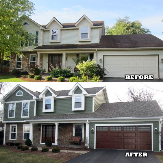 Bedroom Intruder Exterior Remodelling before and after featuring james hardie's hardieplank siding