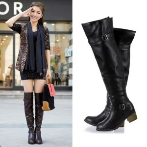 Over The Knee Flat Boots Leather - Yu Boots