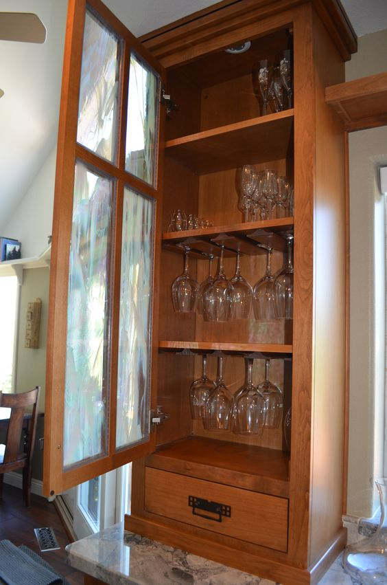Craftsman Kitchen Wine Glass Cabinet Kitchen