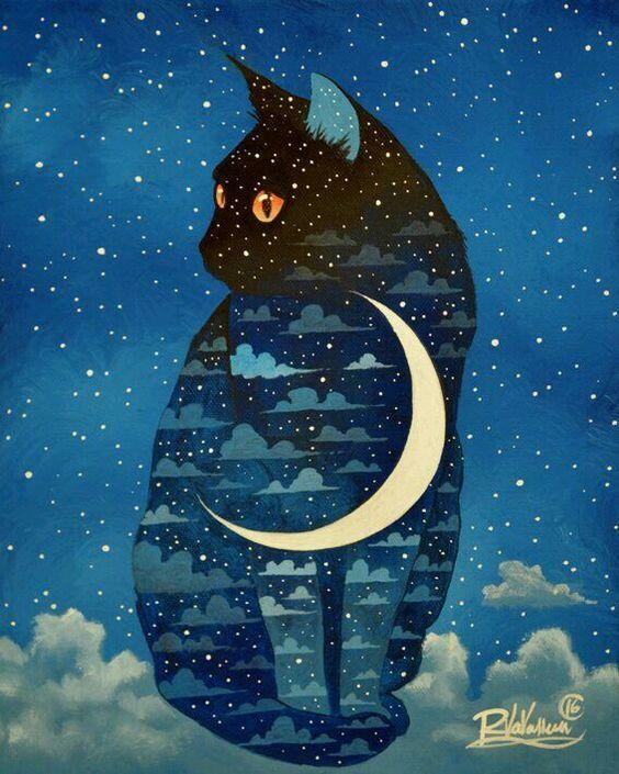 """#Arte ☆ #Ilustração * """" Cat nas Nuvens e Lua """" ☆:"""
