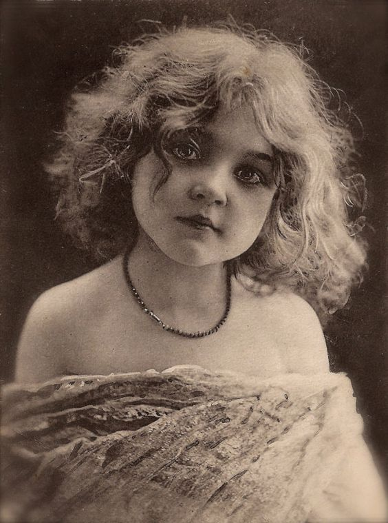 The Vintage Prophecy Postcards… Edwardian Little Girl Portrait Romantic Glamour Beauty with Necklace Jugendstil Postmarked in 1903 (RARE):