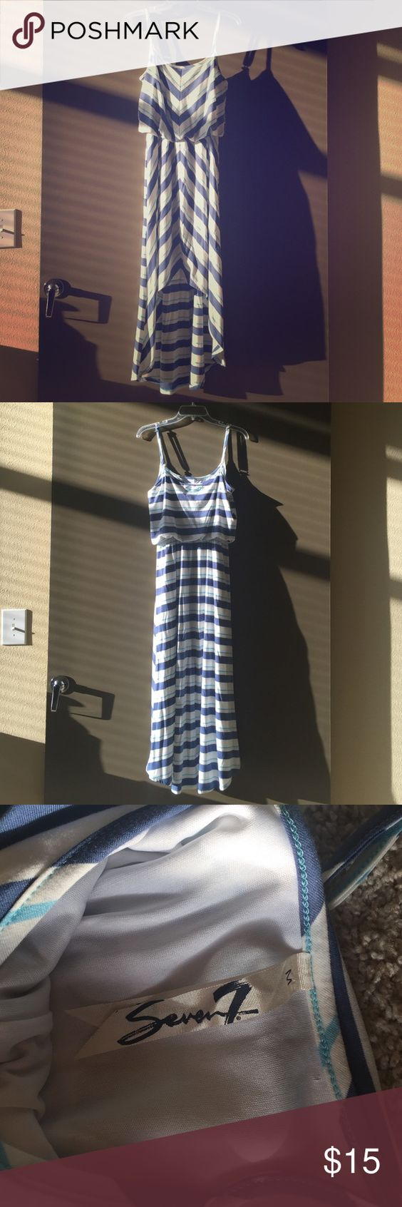 Melissa McCarthy Seven7 High Low Dress Gorgeous blue and white high low dress! Only worn once! Perfect for going to the beach, wearing over a swim suit, a nice brunch, or Sunday's best! Feel free to make an offer! Melissa McCarthy Dresses High Low