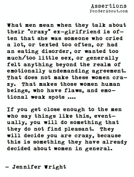 Crazy Feminist Quotes | Found on ponderabout.com
