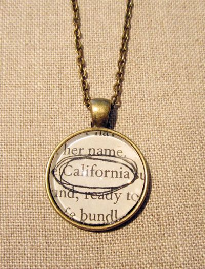 Image of Vintage Book California Necklace