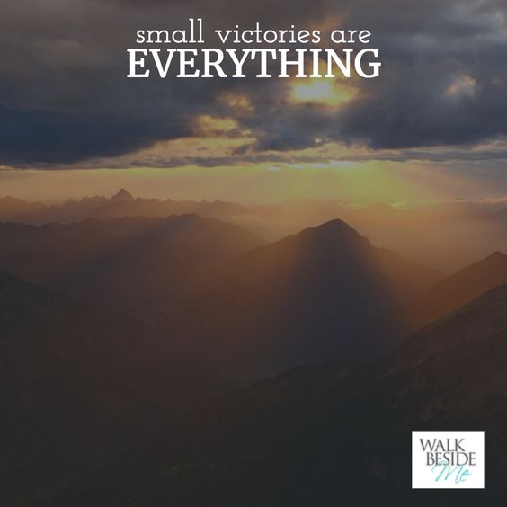 Small victories are EVERYTHING! - Christine Handy, author of Walk Beside Me http://www.christinehandy.com/