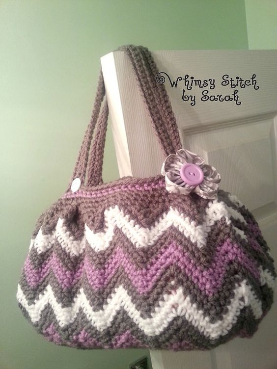 Crochet Chasing Chevrons Hand Bag / Purse by ...