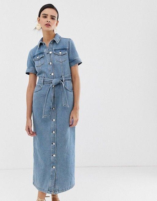 warehouse western midi denim dress