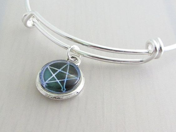 Black Purple Supernatural Pentagram Charm Bangle, Pentagram Glass Cabochon Bracelet, Adjustable Charm Bangle, Stackable Bracelet, Pagan by Purple Wyvern Jewels