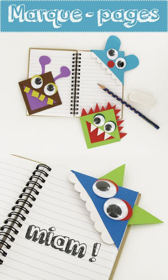 Miam miam !!! Ces petits monstres en papier dévorent les pages des livres au rythme de vos lectures. Cliquez sur l'image pour apprendre à fabriquer ces marque-pages rigolos :)