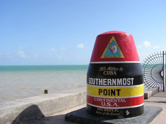 Key West, Florida--Southern most Point in U.S.--only 90 miles to Cuba--other places of interest include Sloppy Joe's Bar (Hemingway hangout) where they hold the annual look-a-like contest, 1st Margaritaville, and Hemingway's home with the six-toed cats and of course famous Duval Street.