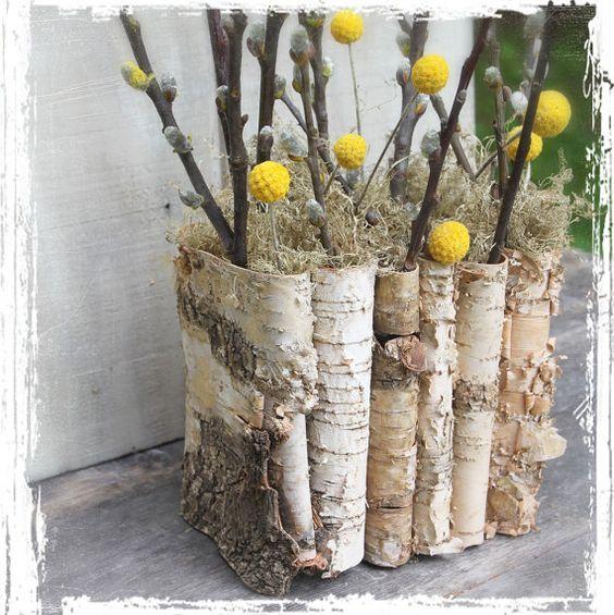 Birch bark folder weddings centerpiece decor container
