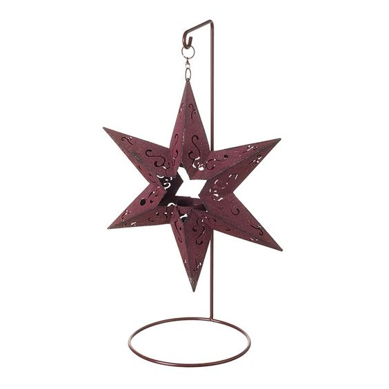 Red Star Candle Holder W/Led T-Light