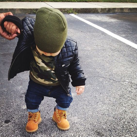 Leather jacket • Army look • Timberland