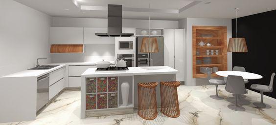 Projeto em High Gloss branco com detalhes em madeira natural.